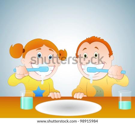 Kids Brushing Teeth - stock vector