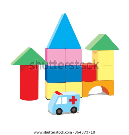 kids building blocks with ambulance, vector illustration isolated on white background - stock vector