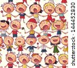 Kids c�hoir singing seamless vector pattern - stock photo