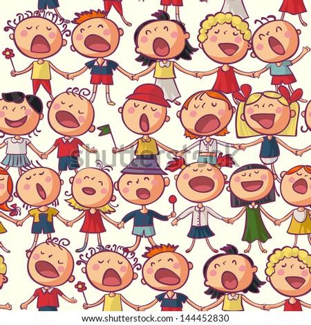 Kids choir singing seamless vector pattern - stock vector