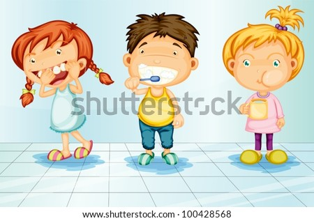 Kids caring for teeth illustration - stock vector