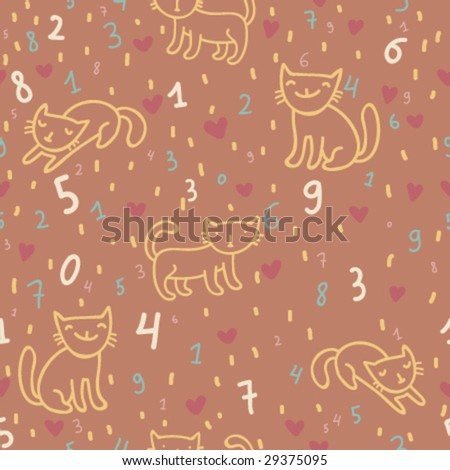 Kids cartoon arithmetical seamless pattern in vector - stock vector