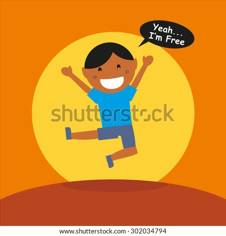 Kids Cartoon Character With Balloon Text -  I'm Free - stock vector