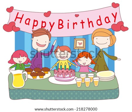 kids celebrating Birthday with parent and cake - stock vector