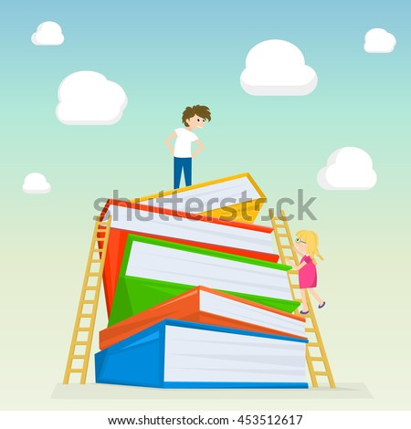 Kids climbing on stairs to the large stack of books. Illustration of kids education. Vector illustration