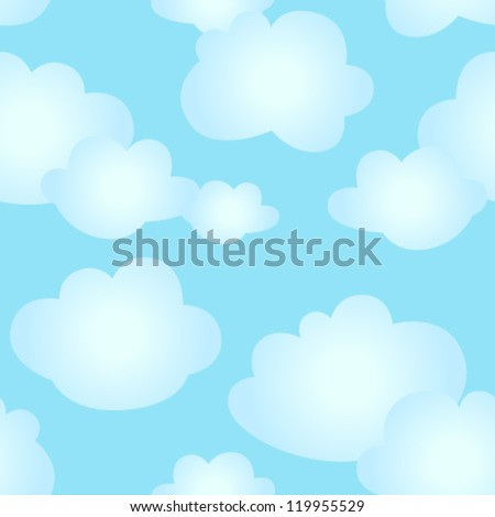 kids clouds seamless pattern