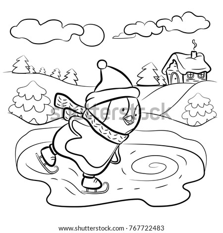 Kids Coloring Page Penguin Ice Skater Stock Vector HD Royalty Free