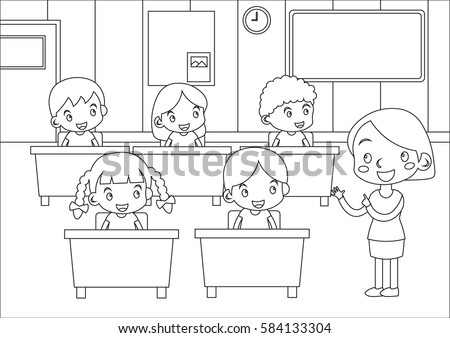 Kids Coloring Page Students And Teacher In Classroom