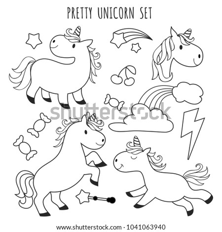 kids coloring page unicorn set coloring stock vector 1041063940