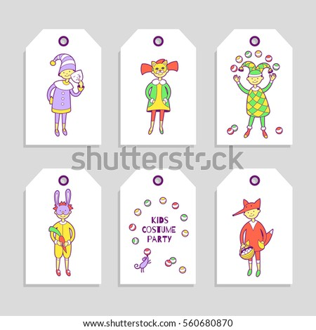 Kids Costume Party Set Cute Printable Stock Vector 560680870 ...