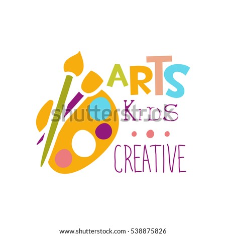 Kids Creative Class Template Promotional Logo With Palette And Paintbrush Symbols Of Art Creativity