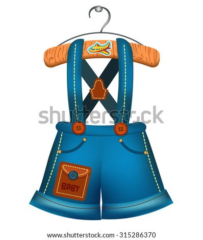 Kids denim overalls hanging on a hanger. Rompers for boys - stock vector