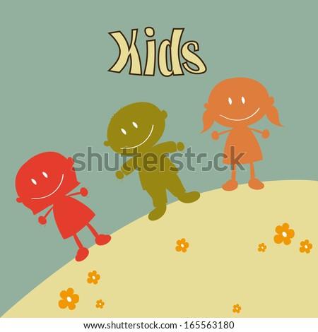 kids design over blue background vector illustration - stock vector