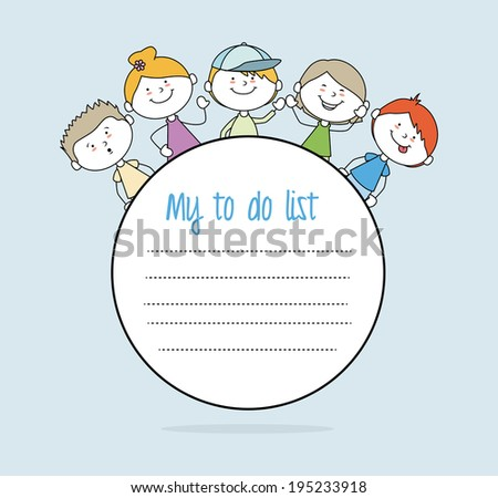 Kids design over blue background,vector illustration - stock vector