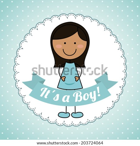 kids design over blue  background vector illustration - stock vector