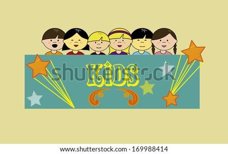 kids design over cream  background vector illustration - stock vector