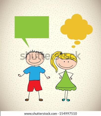 kids design over pattern background vector illustration - stock vector