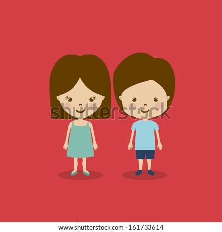 kids design over red background vector illustration - stock vector