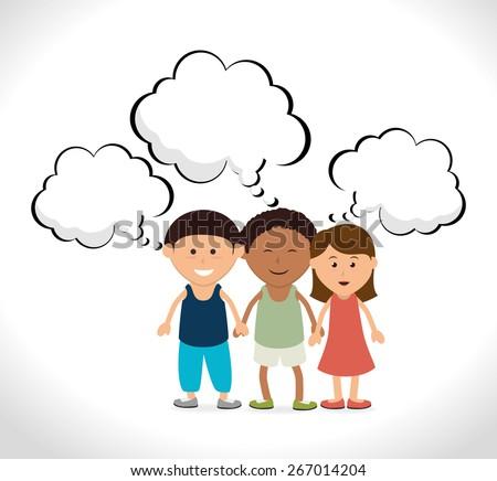 Kids design over white background, vector illustration. - stock vector