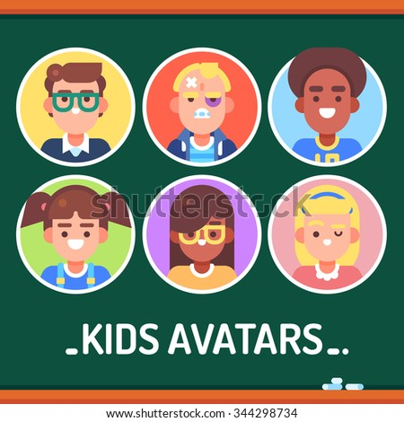 Kids different avatars. Boys: nerd, bully, sportsman. Girls: funny, nerd, beauty. Vector flat illustrations. - stock vector