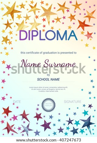 Kids diploma certificate design template preschool stock vector kids diploma certificate design template preschool elementary school diploma vector template yelopaper Choice Image