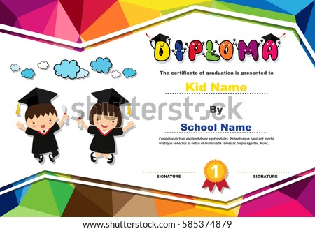 kids diploma certificate polygonal style lovely stock vector