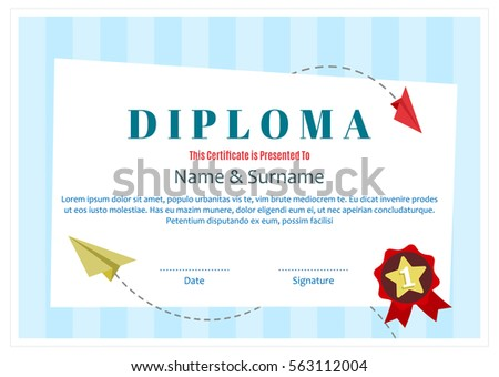 Colorful diploma certificate layout template school stock vector kids diploma certificate layout template for school preschool kindergarten background design vector yadclub Choice Image