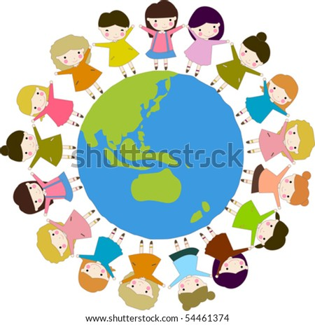kids diversity holding hands around world stock vector hd royalty rh shutterstock com Diversity Clip Art Black and White Diversity Planning Committee Clip Art