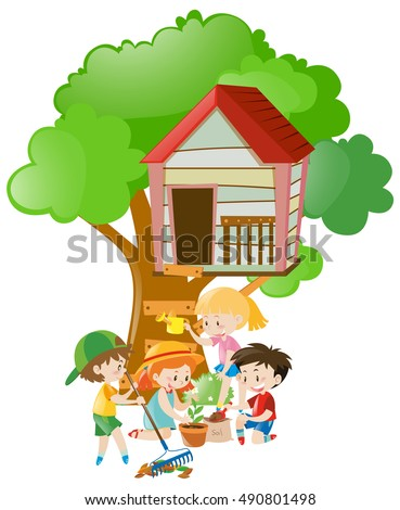 Kids doing things in the garden illustration
