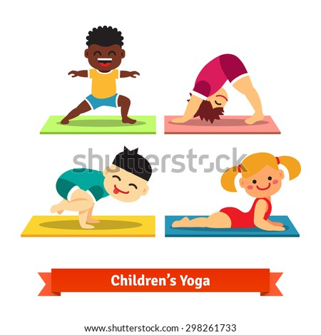 Kids Doing Yoga Poses On Colorful Mats Flat Vector Illustration Isolated White Background