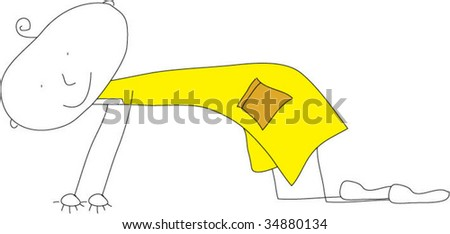 Kids drawing about crawling - stock vector