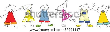 Kids drawing about schoolclass - kids in line having fun - stock vector