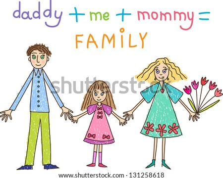 Kids Drawing. Family: mother, father and daughter - stock vector