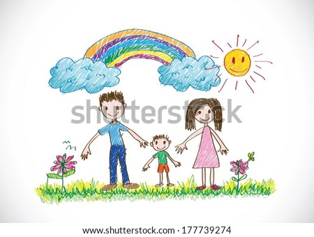 kids drawing happy family picture  - stock vector