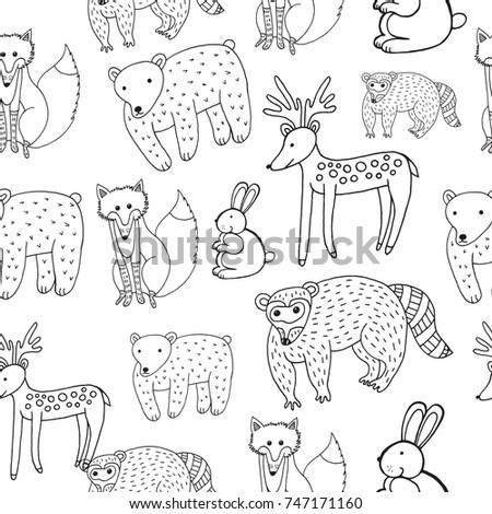 Kids Drawing Animals Seamless Pattern Doodle Stock Vector 747171160 ...