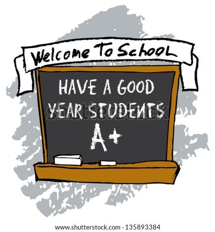 kids drawing of school chalkboard - stock vector