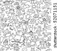 Kids drawing - seamless pattern - stock vector