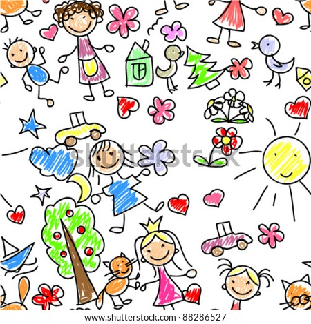 kids drawing seamless pattern - Drawing Images For Kids