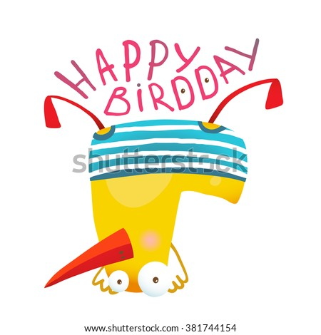 Kids Duck Playing Birthday Greeting Card Design. Yellow duckling birdie cartoon humorous childish adorable illustration. Transparent background EPS10 vector.  - stock vector