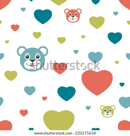 Kids eamless pattern. Simply flat background. Vector. - stock vector