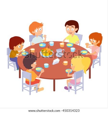 Kids Eating Kindergarten Vector Illustration Children Stock Vector