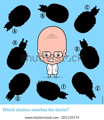 Kids educational puzzle - match the shadow to the elderly cartoon doctor or scientist from an assortment of eight different silhouette shapes, vector illustration - stock vector