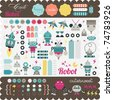 Kids elements for scrap-booking - stock photo