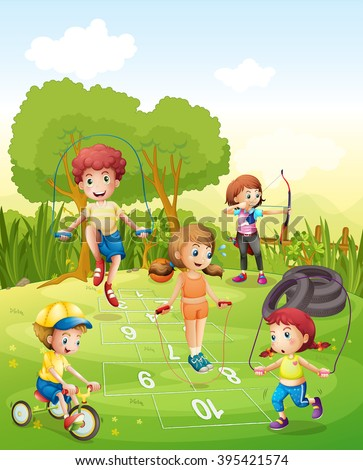 Kids exercising in the garden illustration