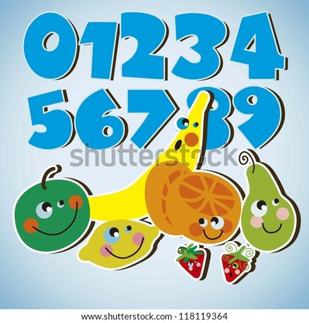 kids fruits with numbers - stock vector