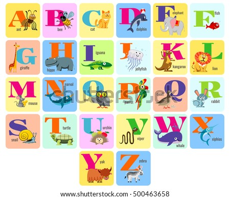 Kids full alphabeth for education and learning with cartoon animals vector illustration