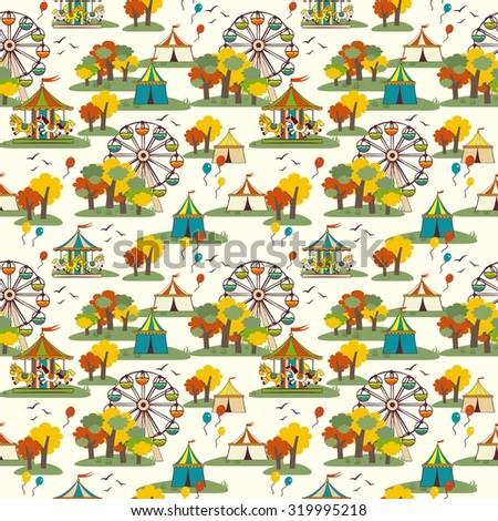 Kids fun fair, autumn, vector seamless pattern - stock vector