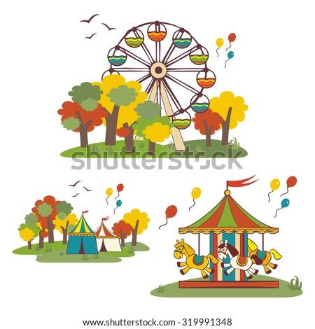 Kids fun fair, vector elements - stock vector