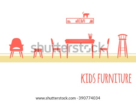 Kids Furniture Red Icons
