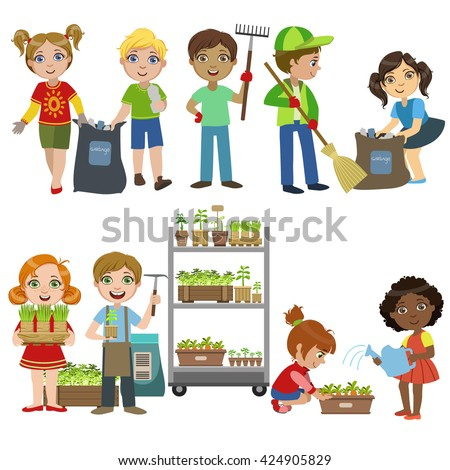 Kids Gardening Picking Garbage Set Bright Stock Vector